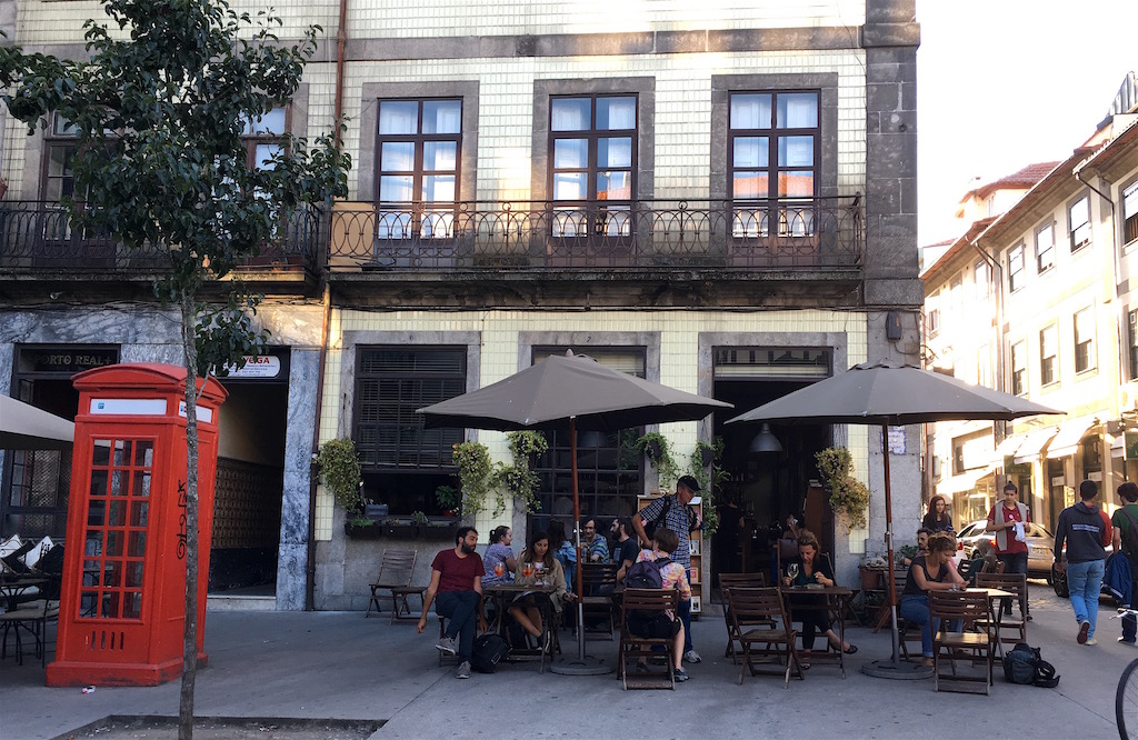cafe candelabro corner patio porto portugal