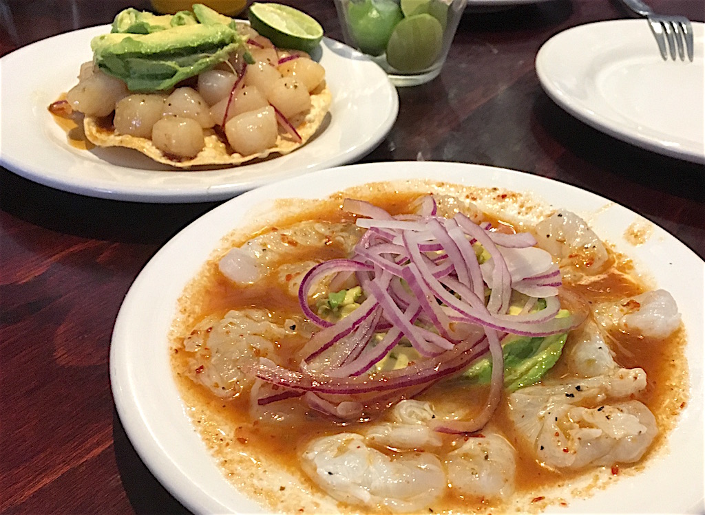 aguachile rojo shrimp and scallop tostada
