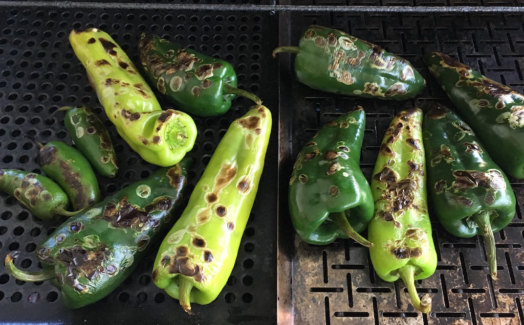 chili peppers on grill