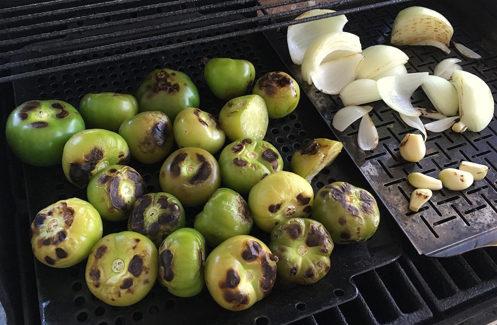 grilled tomatillos onion garlic