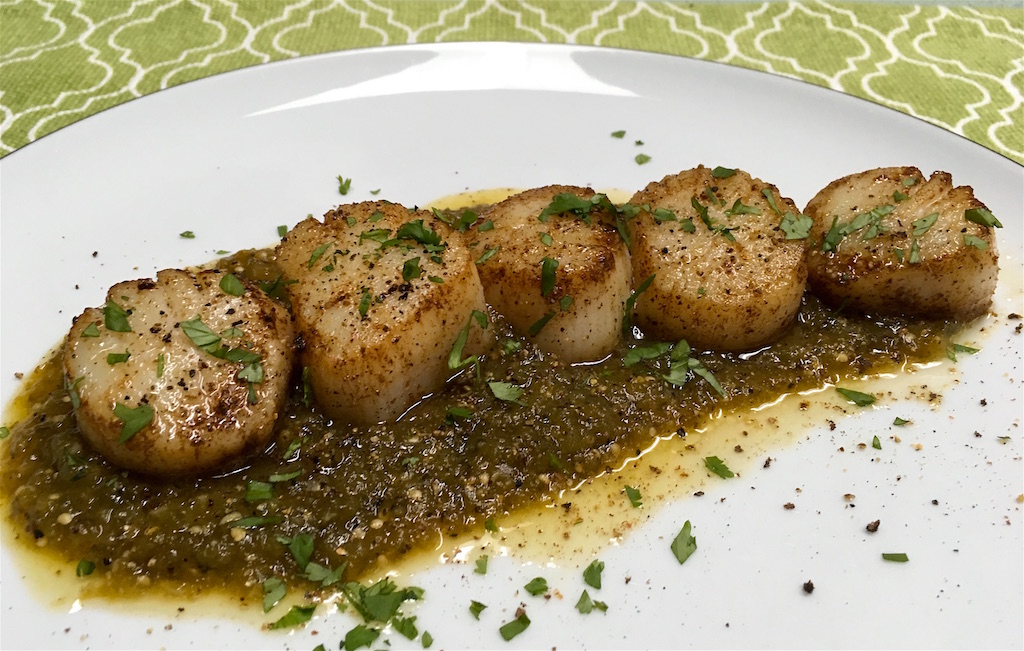 seared sea scallops with charred salsa verde