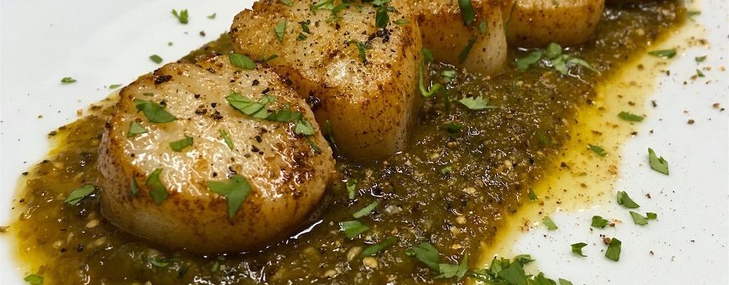 seared sea scallops charred salsa verde recipe