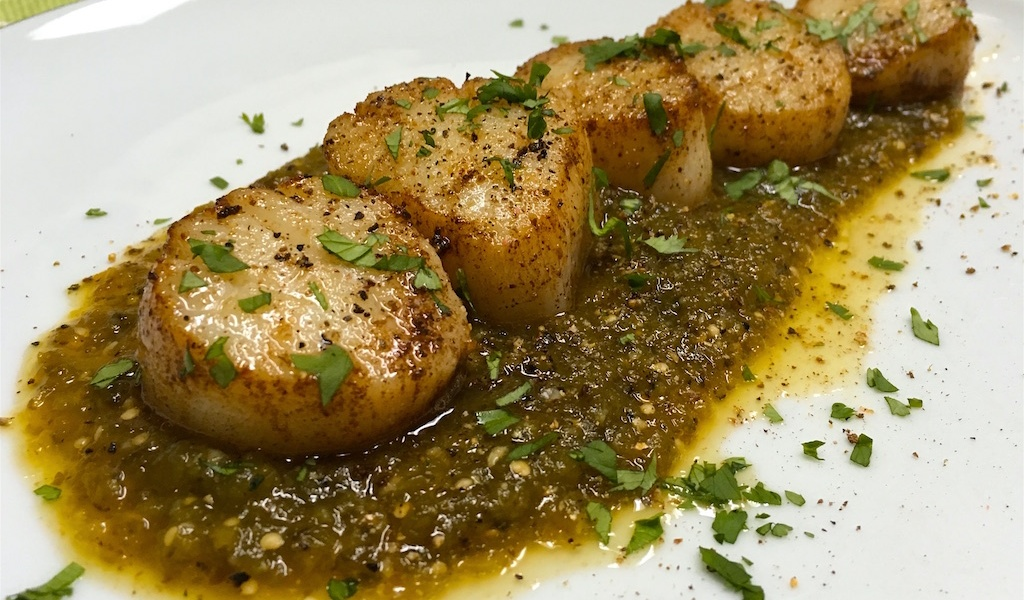 seared sea scallops charred salsa verde recipe