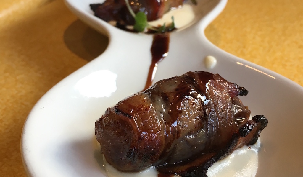 bacon wrapped dates goat cheese cream