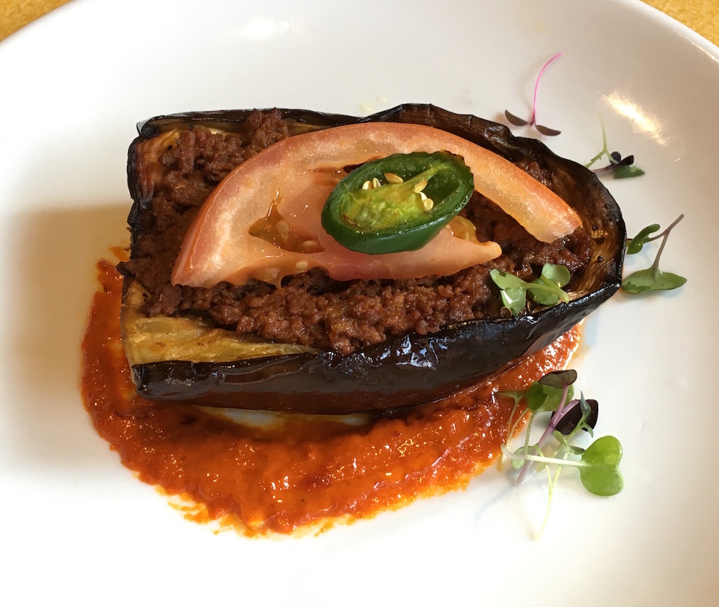 eggplant stuffed with beef tomato sauce