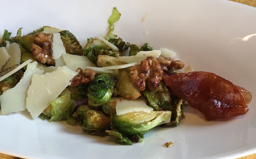 brussels sprouts walnuts manchego cheese ham