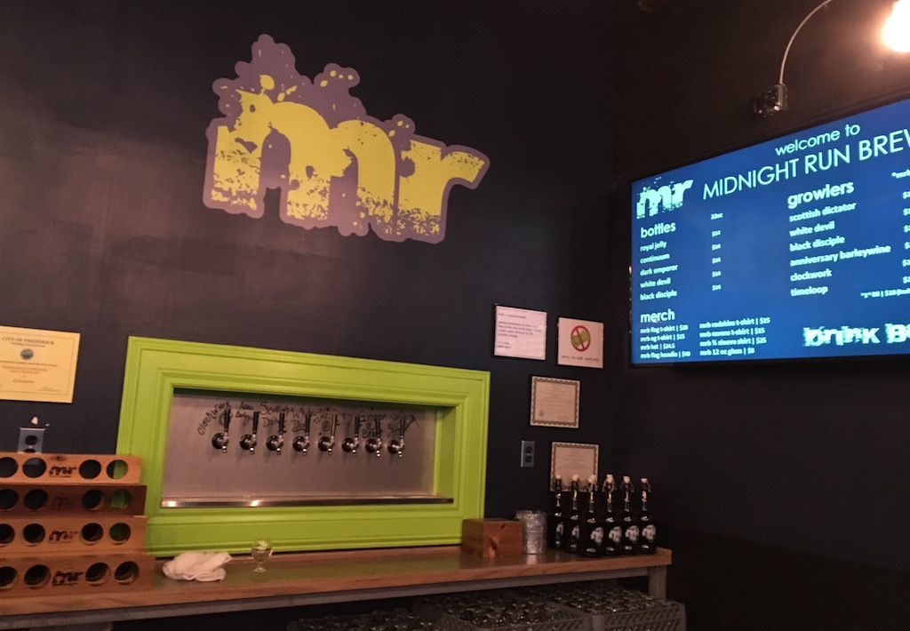 Midnight Run Brewing taproom taps frederick