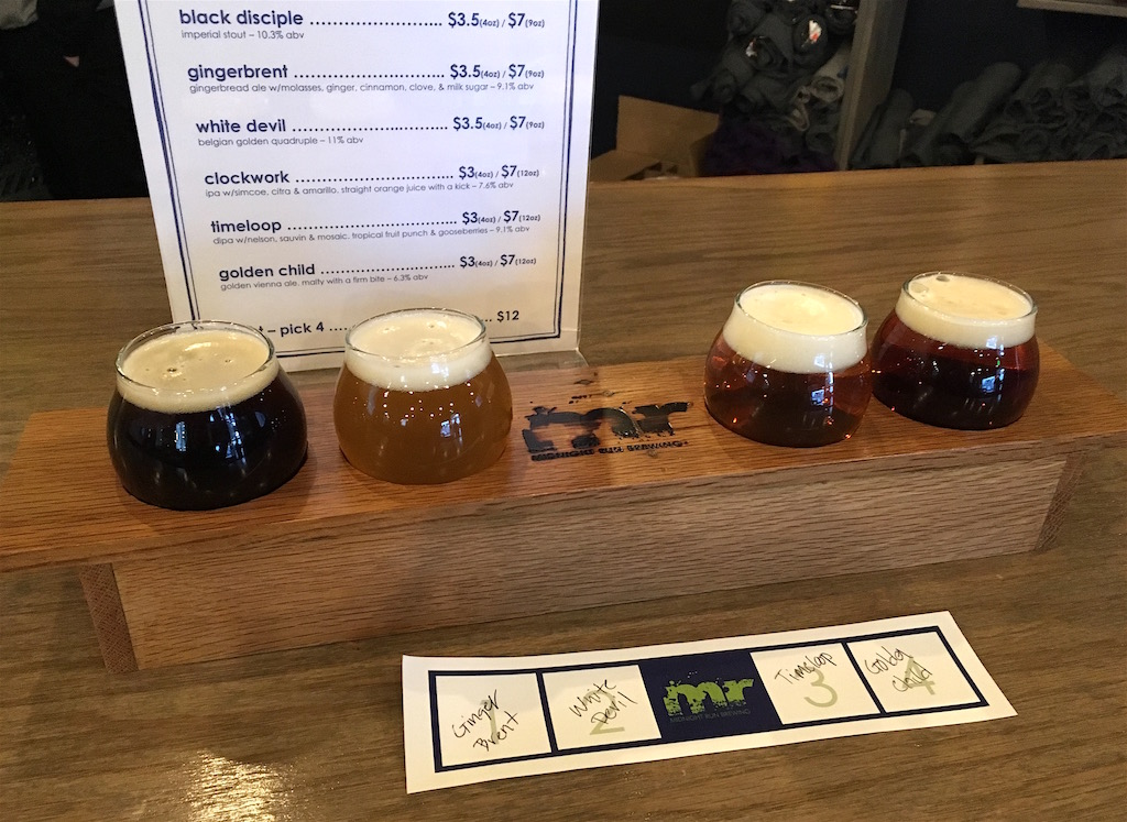 midnight run brewing beer tasting flight