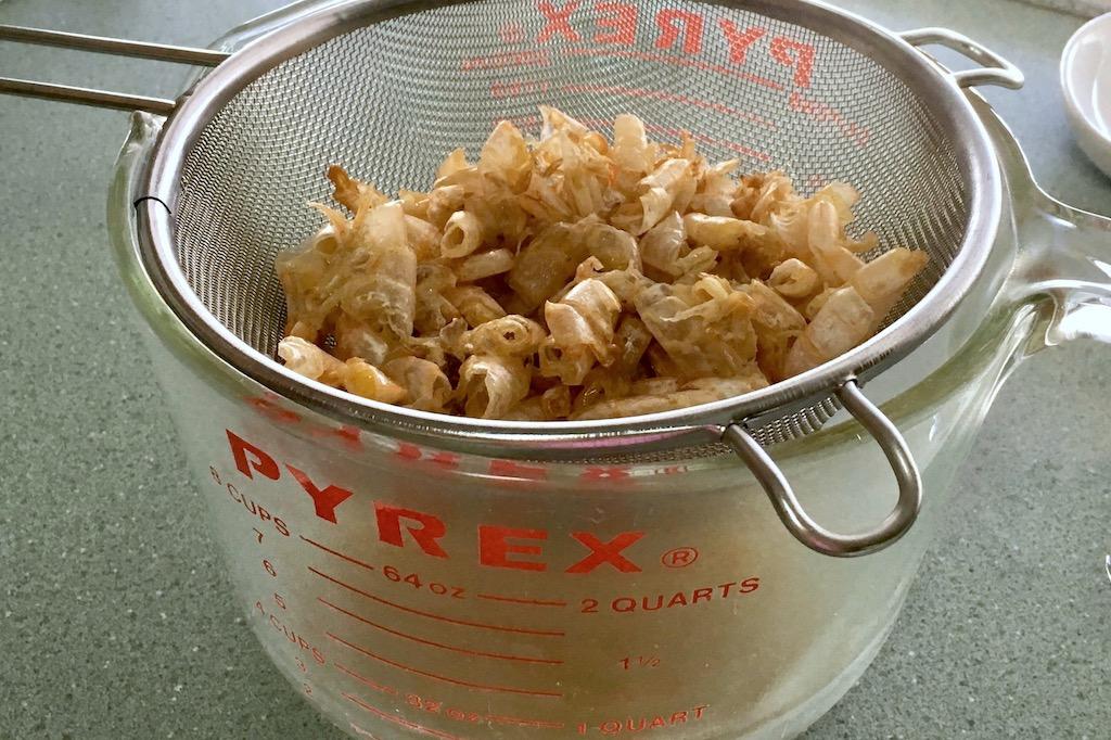 strain shrimp stock from shells