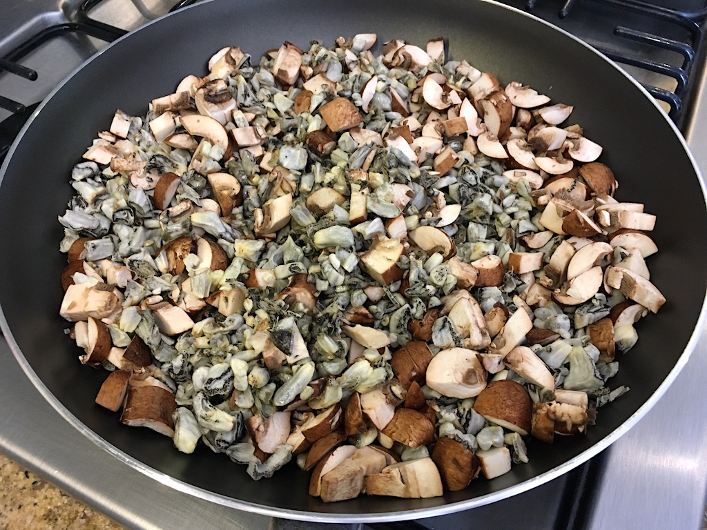 chopped huitlacoche and mushrooms