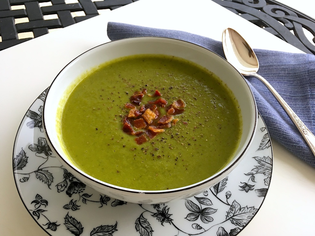 pea soup with fennel greens bacon