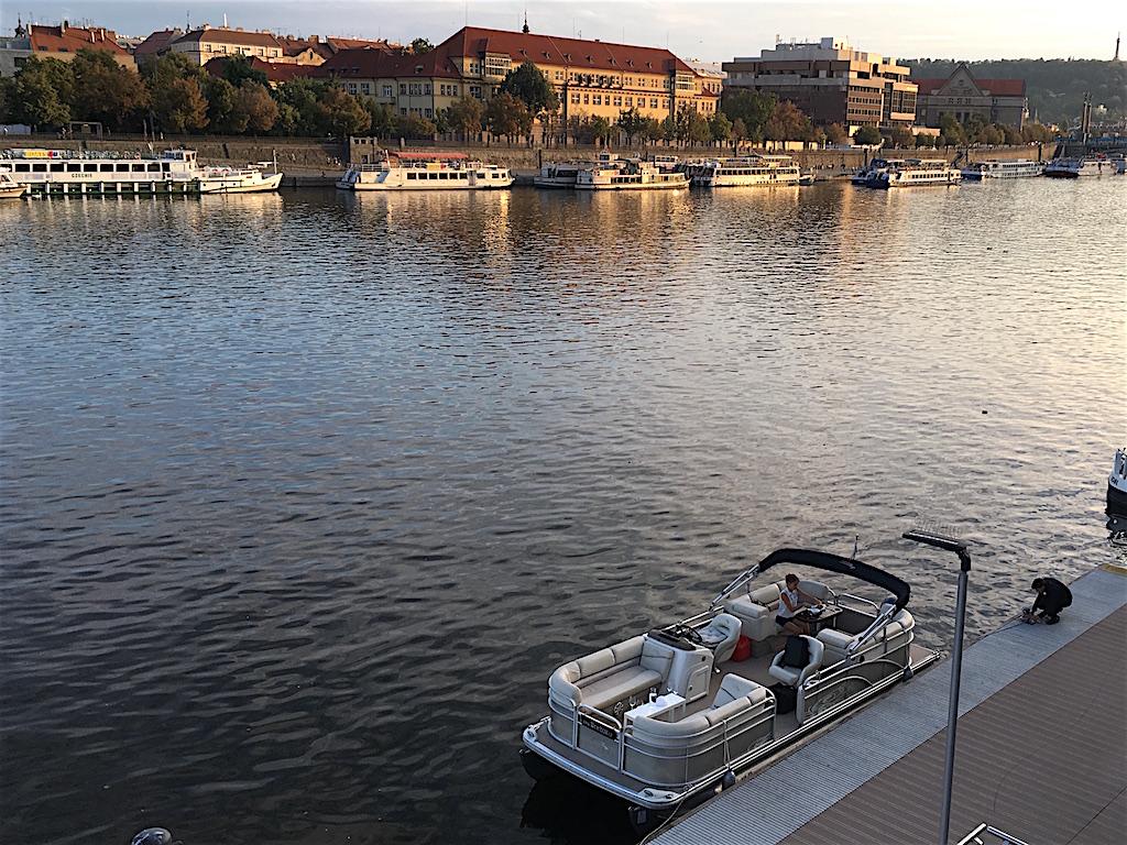 pontoon wine boat cruise vltava river prague
